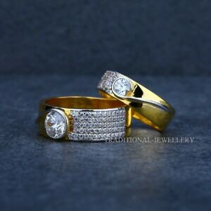 22K Gold Engagement, Wedding, Anniversary Gold Jewelry Man Women Couple Ring 6