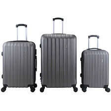 3Pcs Grey Luggage Travel Set Bag TSA Lock ABS Trolley Spinner Carry On Suitcase