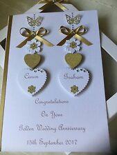 Handmade Personalised Boxed Golden Wedding Card Engagement Anniversary