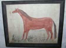 Antique Ink and Watercolor Primitive Folk Art Drawing of Horse 1900 School Paint