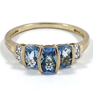 9ct 375 Yellow Gold Natural Aquamarine And Diamond Three Stone Ring Size O