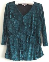 Roz & Ali Shirt Top Blouse Petite Medium Blue Green Layer 3/4 Sleeve Women NWOT