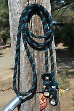 """1/2"""" Alpaca Hair Loop / Roping / Trail Reins 6 Str x 10 ft - Teal, Black"""