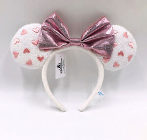 White Heart Sequin Mickey Mouse 2020 Minnie Ears Disney Parks Pink Bow Headband