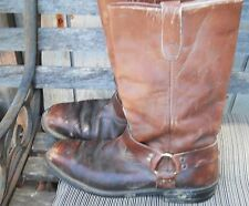 HARNESS BOOT BROWN LEATHER STEEL TOE LEATHER  BOOTS  SIZE MEN'S 10-D (WORK BOOT)