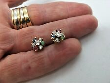 9ct Yellow Gold cluster earrings - ruby, emerald, sapphire & cz - sparkly!