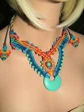 NM-188 Festive Macrame Necklace with Howlite Turquoise Donut Gemstone