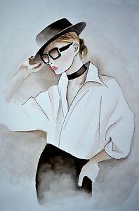 "Ralph Lauren Black White Watercolor fine Art Print 8""X11"" Fashion Illustration"