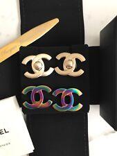 New NIB 2-in-1 Authentic Chanel Gold Turn Lock Stud Earring CC Logo Classic