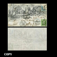 FRANCE 1876 Illustrated Cover of Paris, 5c.star green Cut in 20c. blue $ 3,COPY