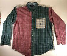 Vintage Nautica Mens Large Long Sleeve Patchwork Button Down Shirt Color Block