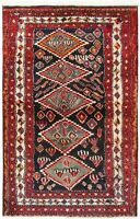 "Hand Knotted Nomadic Wool Navy Rust Tribal Oriental Rug 3'9"" x 5'4"""