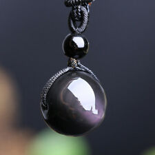 Unisex Men Women Retro Weaving Necklace Obsidian Stone Lucky Pendant Jewelry