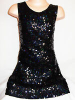 GIRLS 60s STYLE BLACK HOLOGRAPHIC SEQUIN EVENING PARTY DRESS