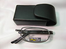 BLACK COMPACT FOLDING Reading Glasses ~ Black Snap Case with Belt Clip +2.00