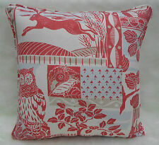 Jane Churchill Fabrics ~ 'Brightwood' Cushion Cover - Red Linen Mix