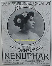 PUBLICITE BIJOUX NENUPHAR BOYER DE LAFORY OPERA 1910 AD