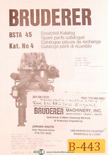 Bruderer BSTA 45, Punch Press, Parts Lists in Engl. German French Italian Manual
