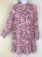 Loft Size XS Hippie Boho Pink Floral Ruffle Floral Long Sleeve Mini Dress