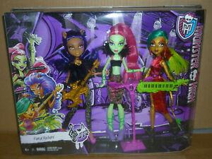 Monster High FIERCE ROCKERS Jinafire Long, Clawdeen Wolf, Venus McFlytrap
