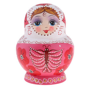 Hand Painted Wooden Russian Nesting Doll Matryoshka Doll Ornaments 10 Pieces