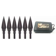 6 Pcs 0.5'' Cut 125 Grain 3 Blade Retro Black Arrow Points Broadheads + Case