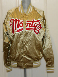 Monty's Good Burger gold satiny bomber jacket Adult M Augusta Sportswear CA