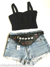 100% Leather Black Bum Bag - Daisy, Flowers, Red Hearts, Studs - Festival, 80's