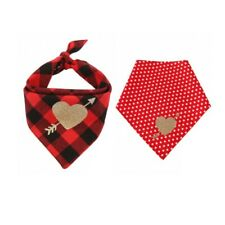 2X Dog Bandana Cotton Plaid Love For Valentine's day Triangle Scarf Pet Supplies