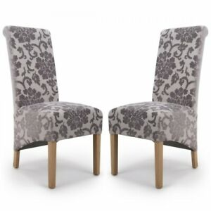 KRISTA ROLL BACK BAROQUE VELVET MINK DINING CHAIRS x 2 (a pair)