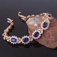 "Fashion jewellery!18k gold filled sapphire luxury charms bracelet 8.2""17.8g"