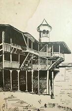 Vintage ink painting landscape old house
