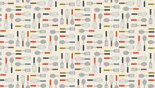 Makower 100% cotton fabric Patchwork Craft 0.5 Metre Lila's Kitchen Utensils