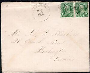 USA 1898 COVER + BEN FRANKLIN PAIR 1C GRN  WESTCORNWALL N.Y. DUPLEX RING CANCEL