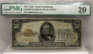 FR.2404 1928 $50 Fifty Dollars Gold Certificate Currency Note PMG Very Fine-20