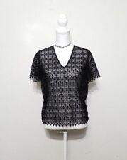 Sandro Paris Shirt Women's L Black Lace Sheer Top Grade inv#z9969