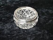 Cut Glass Salt with Silver Rim, H/M Worn, C1920's