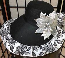 (1) BLACK & SILVER CHRISTMAS CAROLER BONNET LADY DICKENS VICTORIAN COSTUME HAT