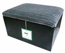 Footstool with storage in blacksnake and grey cord fabric