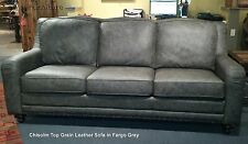 Chisolm Fargo Gray 100% Hand Cut Top Grain Leather Sofa Made in the USA
