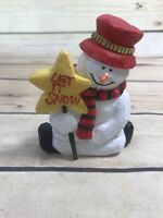 Snowman Figurine Let it Snow Stand Christmas Holiday Home Decor Xmas