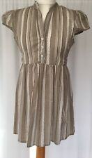 * TU * Short Pale Striped Shirt Front Dress in Light Browns and Creams  UK10 NEW