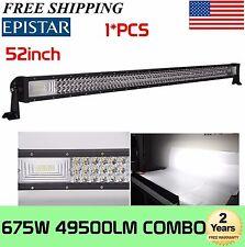 "7D Tri-Row 52""inch 675W LED Work Light Bar Flood Spot Offroad Truck Straight Bar"