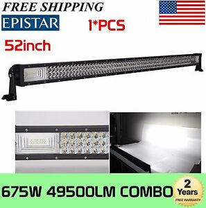 Tri-Row 52''inch 675W 7D LED Light Bar Combo Driving Offroad Bumper Roof 300W