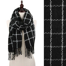 Black and White Cozy Square Print Fringe Fashion Scarf