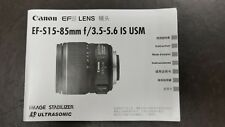 Canon EF-S 15-85mm f/3.5-f/5.6 IS USM OWNERS MANUAL