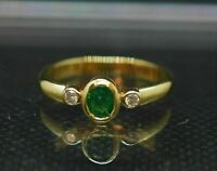 1.50Ct Oval Cut Green Emerald Diamond Bezel Engagement Ring 14K Yellow Gold Over