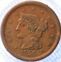 """1856 """"SLANTED 6"""" """"BRAIDED HAIR"""" LARGE CENT, NICE TYPE COIN, PROBLEM FREE COIN!"""