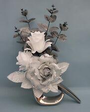 HANDMADE ARTIFICIAL SILK SILVER GLITTER ROSE, WHITE FLOWERS IN SILVER COMMA VASE