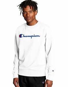 Champion Men's Sweatshirt Powerblend Crew Neck Script Logo Athletics Midweight